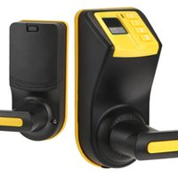 Wholesale US Stock ADEL LS9 Biometric Fingerprint Password Door Lock Reversible Handle Fingerprint Access Yellow And Black Electronic Lock
