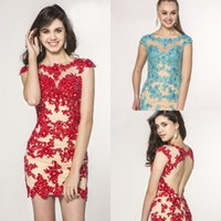 Cheap Reference Images Sexy mini Cocktail dress Best Crew Lace Appliques Prom dresses