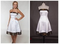 Wholesale Strapless Champagne Short Dress Sale - 2015 Strapless Knee-length Camo Wedding Dress A-Line Camo Wedding Gown Hot Sale Cheap Short Camo Wedding Dress