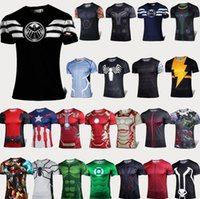 Wholesale 2015 The Avengers t shirt men superhero Batman Jersey shirt sports quick dry fitness compression drying T shirt D girly men in stock