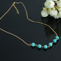 beaded payment handmade - 2015 Unisex Time limited Necklace Gold Trade Jewelry Retro Simplicity Natural Turquoise Beaded Handmade Short Chain Ossicular C1198 Payments