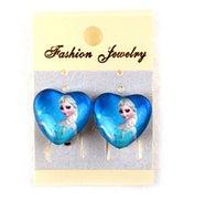 Wholesale FROZEN Elsa Anna Ear Clip Ear Cuff Children Girl glass Heart Shape Cartoon Earrings Charm jewelry COSPLAY Party Perform props gifts