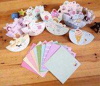 Wholesale Free ship set Lovely girl cartoon animal gift cards Mini Holiday Card birthday cartoon girl greeting card suit