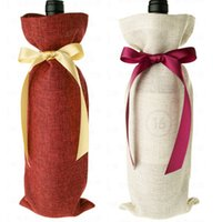 Wholesale Jute Wine Bottle Bags bow tie ribbon cmx38cm quot x15 quot Wedding and Festivals DecorationFavor holder