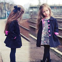 Wholesale New Kid Children Girl Fashion Vogue Trench Bowknot Outwear Long Sleeve Button Polka Parka Jacket Coat