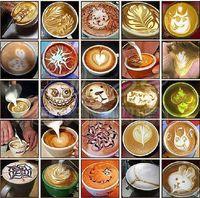 Wholesale Hot sale set coffee latte cappuccino Barista art stencils Cake duster templates Coffee Tools