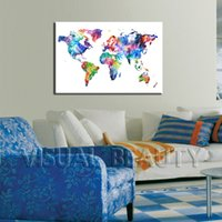 Cheap Modern Popular Abstract World Map Printed Canvas Art Photo Wall Hanging for Living Room ,Contemporary Art Painting (Unframed) 60x90cm