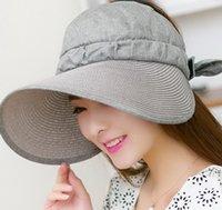 Wholesale Women Visors Floppy Summer sun Protection Beach Sun Hat Dome fishing Cap Wide Brim hat color