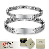bal chain - ashion Jewelry Bracelets OPK Jewelry Couple Hologram Bracelet Healing Stainless Steel Bracelets Magnet Stone Chain Link Scalar Energy Bal