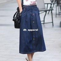 Corea del encanto de señora Casual Denim Faldas más el tamaño M-3XL Nuevo diseño largo flojo Mujeres moda una línea de falda de Jean