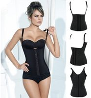 body shapers - Black Steel Boned Latex Vest Waist Training Corset Compression Body Shapers
