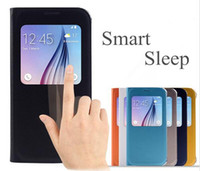 auto fit - Samsung Galaxy S4 S5 S6 S7 Edge Plus Note Genuine Smart Flip Cover View Folio Leather Case Open Window Auto Wakeup Sleep with IC Chip