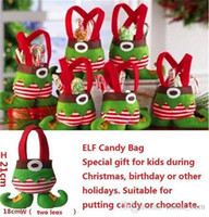 Wholesale Christmas Pouch Pants - 2015 Elf and Santa Pants Style Candy Basket Bags Christmas Gift Bag Pouch For Children Christmas Decoration Cute Pants Xmas Candy bags