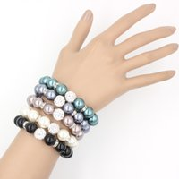 Wholesale Pearl Jewelry mm Shamballa Disco Ball Stretch Bracelet mm Pearl Flex Bracelet for Women Gifts