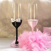 champagne flutes - Handmade Feather Tulle Satin Pearl Bride And Groom Crystal Champagen Glasses Without Lead Champagne Flute Multi color Unleaded Wedding Favor