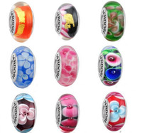 glass beads - DIY jewelry ALE stamped thread core murano glass beads mix lampwork glass beads big hole Murano Glass Charm Bead For Pandora Bracelets