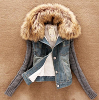 denim jackets women - 2015 new women s spring Autumn short denim jacket women winter slim yarn large fur collar lamb cotton denim outerwear jeans