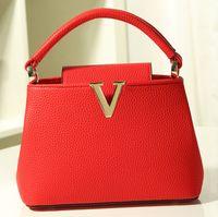 bag brands list - New Listed Women Handbag Lichee Pattern Medium Size Luxury V Brand Genuine Leather Bag Ladies Joker Messenger Shoulder Bags