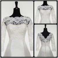 alexander white - 2016 Justin Alexander Lace Bridal Bolero Jackets Scalloped Neckline Illusion Long Sleeves V Back Short Wedding Dresses Jacket for Bride