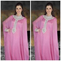 Model Pictures Crew Chiffon New Arrival 2014 Cheap Jewel Arabic Dubai ABAYA KAFTAN Pink Long Sleeve With Beaded Evening Dresses Gown Prom Dress In sales SZJ303