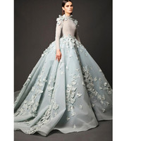 Wholesale Elie Saab Dresses Long Sleeves Evening Dresses A line High Neck Chapel Train Tulle Lace Appliques Dresses Evening Wear For Women W6305