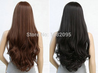 Wholesale 32 quot PC Stylish Lady black light brown dark brown long Curly synthetic human front lace hair wig Free Wig Cap