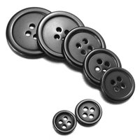 Wholesale 10Pcs Holes Black Button Retro Shiny Resin Decor Buttons Sizes For Sewing Crafts Coat DIY Muppet Accessories