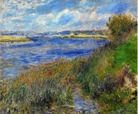 banks paintings - La Seine a Champrosay Banks of the Seine River at Champrosay Pierre Auguste Renoir Paintings on Canvas Wall Art High quality Hand painted