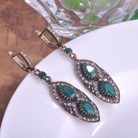 antique emerald earrings - Turkish Jewellery Princess Hooks Women Earrings Emerald Green Resin Aretes Antique Gold Vintage Max Brincos Grandes Accessories