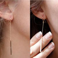 Wholesale Dangle Chandelier Earrings Fashion Women Brief Bohemia Gold Silver Plated Geometric Metal Strap Alloy Drop Earrings Jewelry ER539
