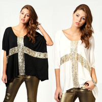 Wholesale Summer Lady Casual M XXL Tee Sequin Cross Loose Batwing Sleeve Tops Women T shirt