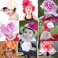baby hats with big flowers - Retail NEW baby sun hats kids summer cap with big flower types can pick Drop shipping