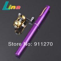 Wholesale Mini Portable Pocket Aluminum Alloy Pen Fishing Rod Pole Reel Fishing Pen