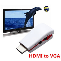 Wholesale Mini HDMI to VGA RGB Video Converter Box Adapter with AV Audio Cable For PC PS3 for apple for XBOX360 HDTV P