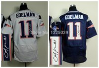 autographed jerseys - Factory Outlet New Julian Edelman Autographed Jersey White Blue Signature Elite Football Jersey Embroidery Logo Size M XL