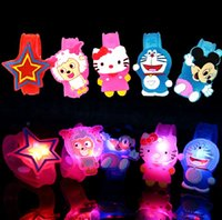 Wholesale 1200pcs DHL Flash LED lighting children kids bracelet wrist band birthday gift party decoration Cartoon flash luminous watch