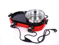 Wholesale 2 in BBQ and hot pot electric grill double temperature controlled switch non stick and smokeless grill