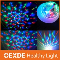 Wholesale DHL Fast Shipping W RGB LED Mini Party Christmas Lights E27 Dance Party Lamp Auto Rotating Full Color Led Bulb RGB LED Rotating Stage Light