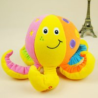 Wholesale EMS DHL hot fashion Octopus bell toy baby octopus embroidery baby rattles doll plush toys