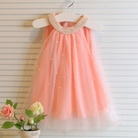 kids clothes high quality - New hot Korean girl dress children fairy chiffon clothings high quality kids clothes yrs baby girl pearls collar dresses