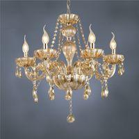 Wholesale DHL Arm Chandelier modern crystal lamp crystal chandelier light luxury Cognac living room chandelier Lighting