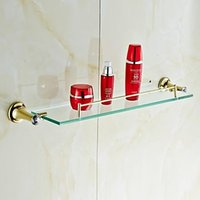 Wholesale Contemporary Golden Crystal Brass Glass Shelf