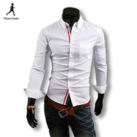 Wholesale New Arrival Fashion Brand pure Contrast Color Long Sleeve Shirts Mens Casual Stylish Mens Shirts