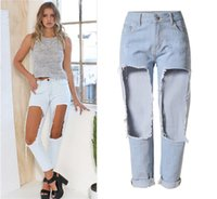 Wholesale Big holes in thigh and knee women super distressed denim boyfriend ripped jeans plus size high waist ankle length straight jeans