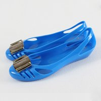 Wholesale 2014 women s flat shoes Ladies Melissa Crystal flat heel Sandals Women Transparent Jelly Shoes TX0018