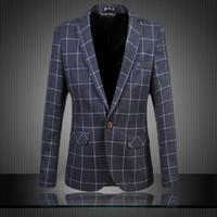 Wholesale Men s Dress Blazer Fashion Business Suit Jacket Plaid Blazer Slim Veste Homme Mariage Plus Size XL XL