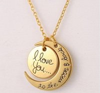 Wholesale I Love You To The Moon and Back Necklaces for women Wedding Jewelry Accessories Lobster Clasp Pendant Necklace Gold Silver Christmas Gifts