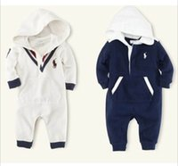 Wholesale Baby Boys One Piece Romper Navy Kazakhstan Clothing Cotton Hooded Long Sleeve Kids Onesie Infants Jumpsuits V neck Bodysuits Retail