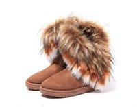 achat en gros de longue en cuir femmes boot-Brand New Shoes 2,016 Automne Hiver chaud élevé à long bottes de neige artificielle Fox fourrure de lapin en cuir Tassel femmes bottes de neige S de la femme