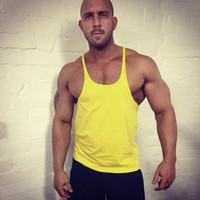 Wholesale Fitness Men Tank Top Singlet Bodybuilding Stringers Undershirt Clothes Golds Gym Shark GASP Plain Without LOGO Vest Muscle Shirt